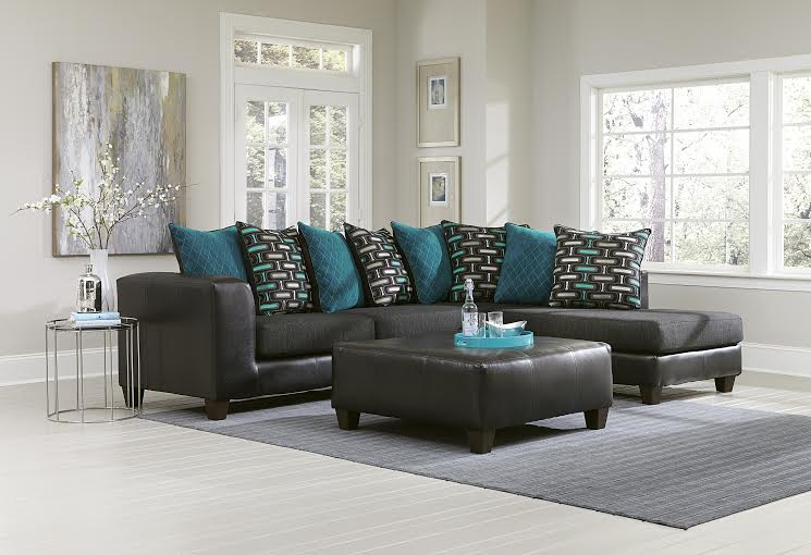 two tone living room couch with pillows